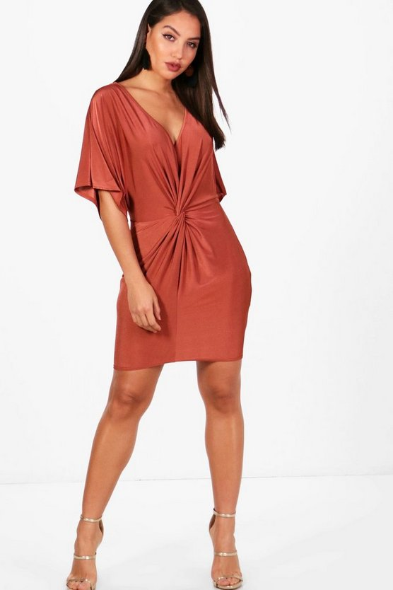 Ava Kimono Sleeved Knotted Bodycon Dress