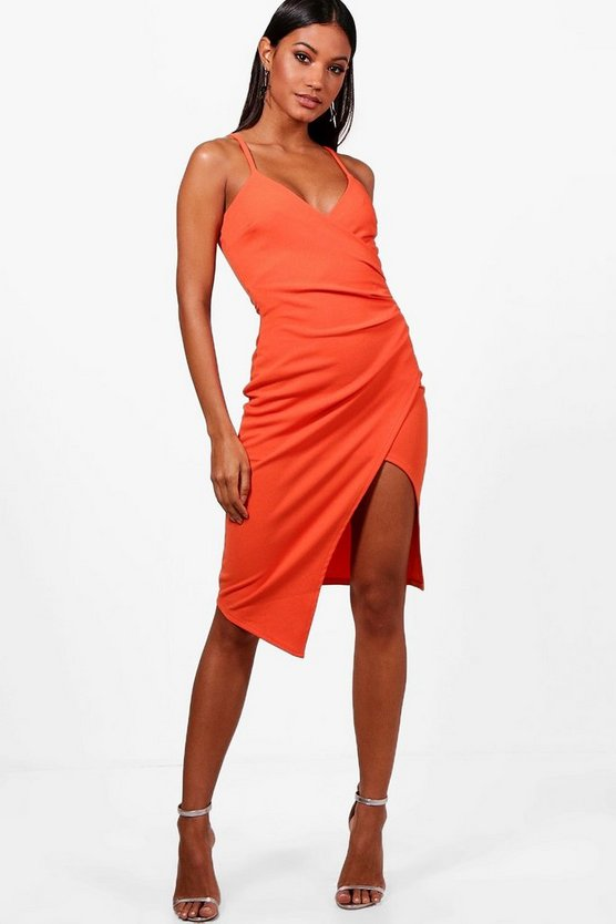 Josie Strappy Wrap Pleated Midi Dress