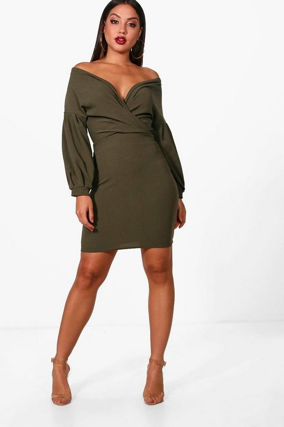 Danni Off the Shoulder Wrap Bodycon Dress