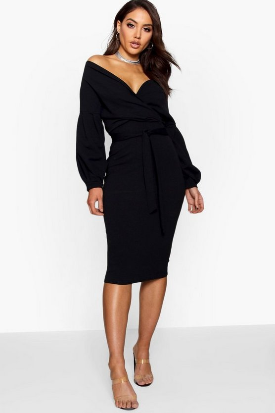 Nina Off the Shoulder Wrap Midi Dress
