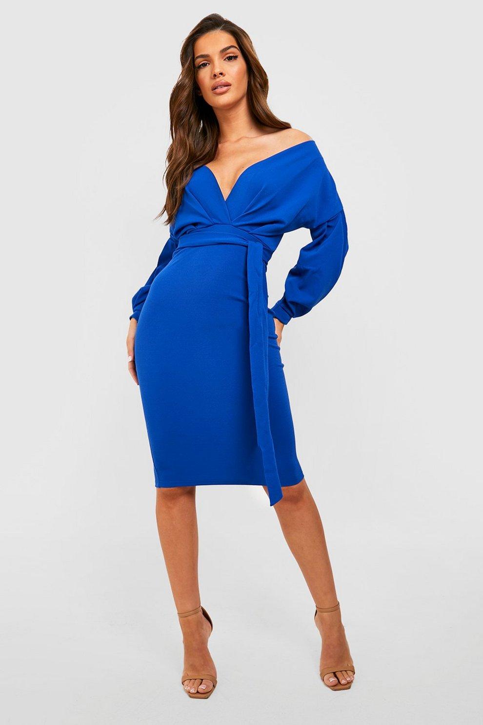 Nina Off the Shoulder Wrap Midi Dress