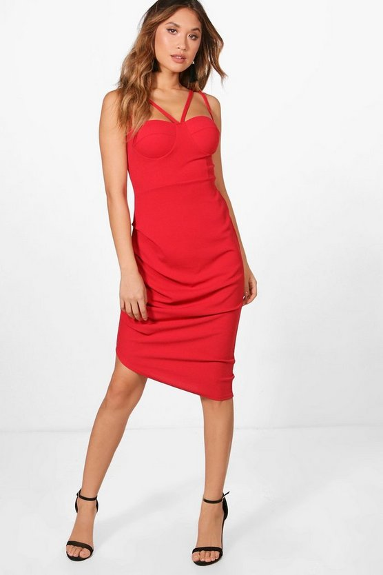 Strappy Ruched Side Midi Dress