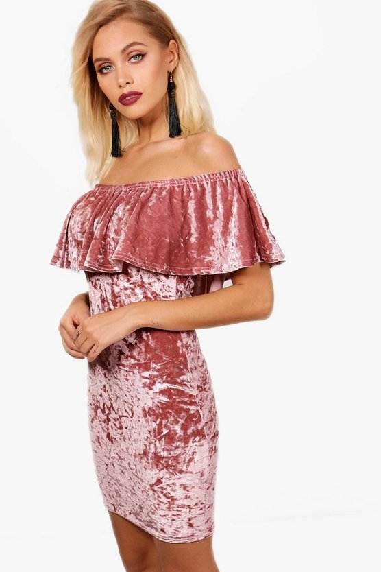 Velvet Off the Shoulder Bodycon Dress