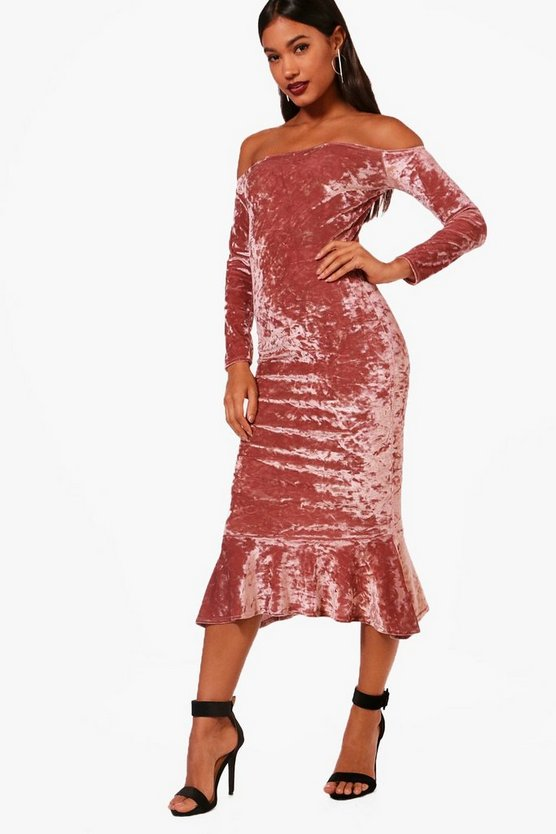 Fay Velvet Off the Shoulder Midi Dress