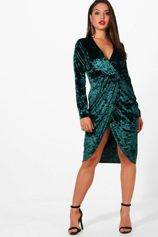 Harriet Velvet Long Sleeve Wrap Bodycon Dress