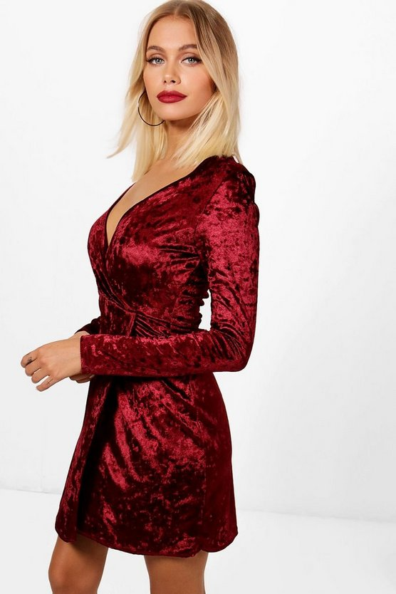 Yasmin Crushed Velvet Wrap Bodycon Dress
