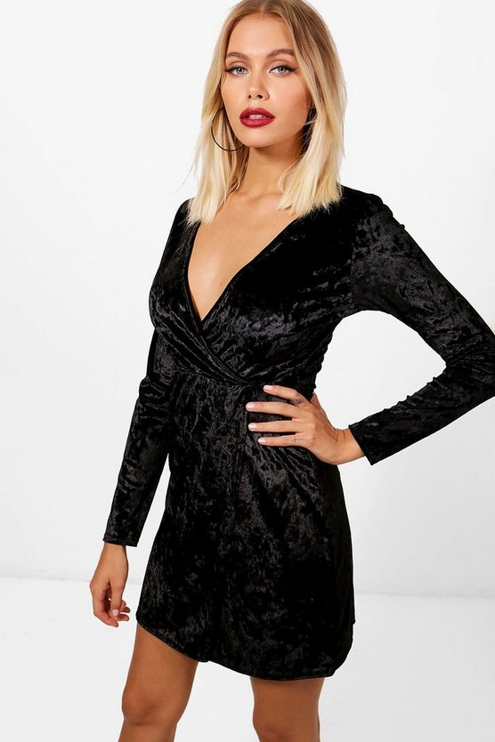Crushed Velvet Wrap Bodycon Dress