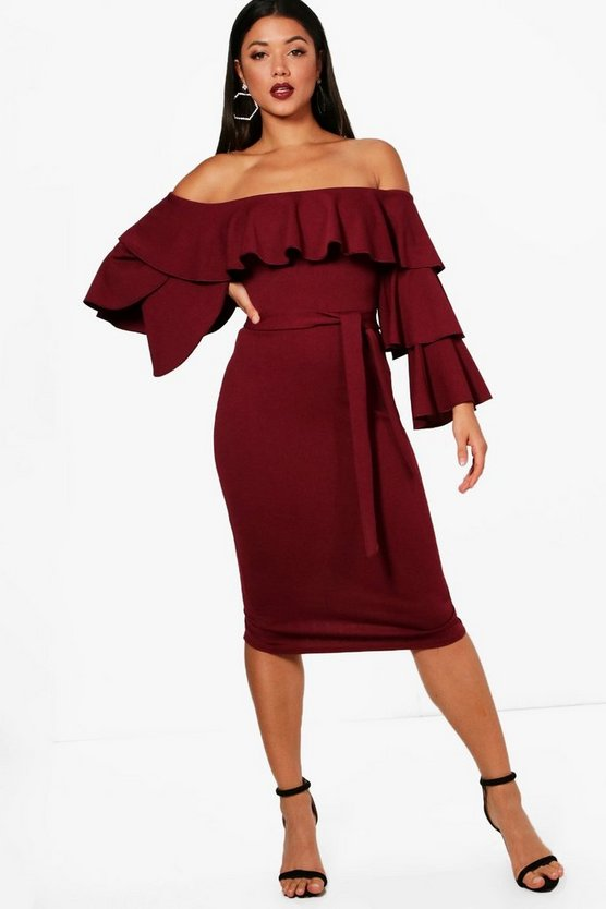 Emilie Off the Shoulder Tierred Frill Midi Dress