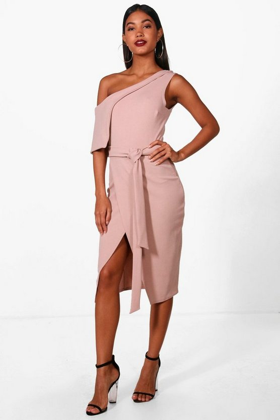 Beth One Shoulder Tie Belt Waist Midi Dress