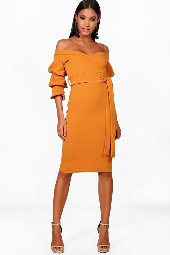 Gia Off the Shoulder Sleeve Detail Midi Dress
