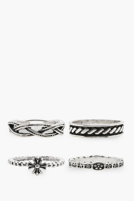 Freya Engraved Mixed Rings 4 Pack