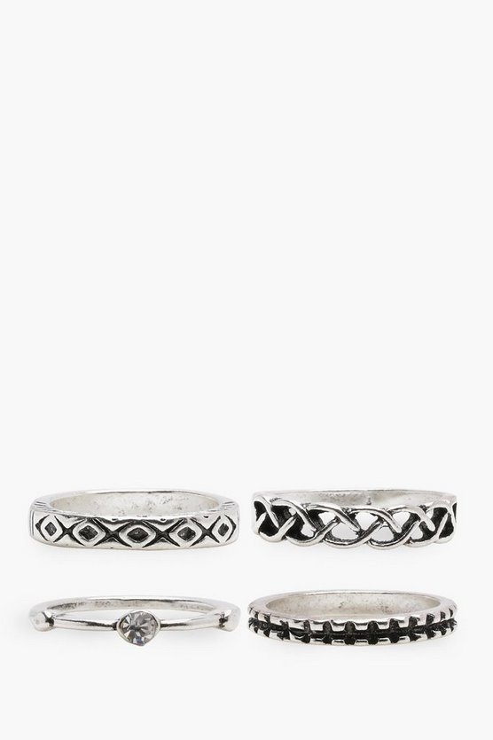 Ella Engraved & Stone Mixed Rings 4 Pack