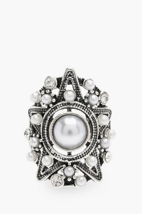 Grace Faux Pearl Detail Statement Ring