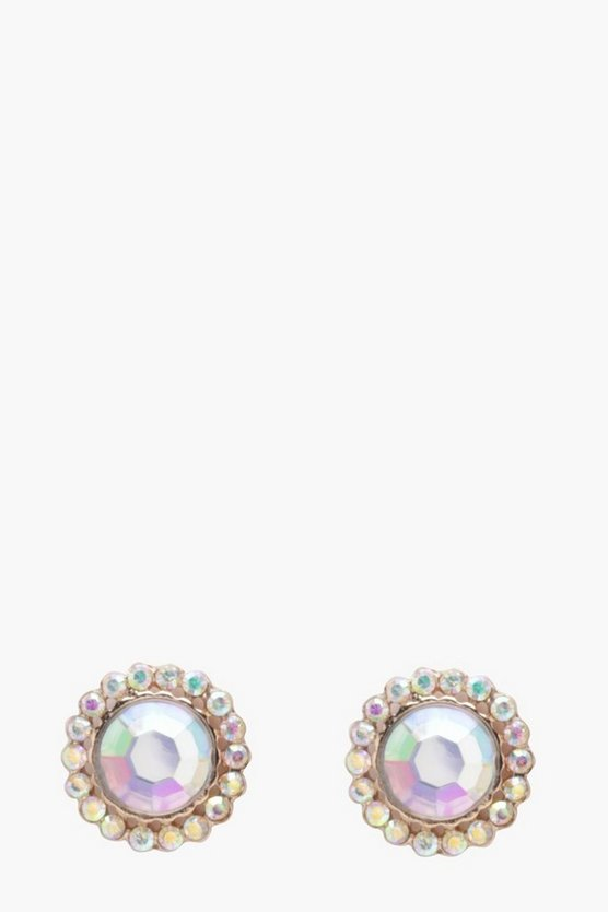 Emily Holographic Diamante Edge Stone Earrings