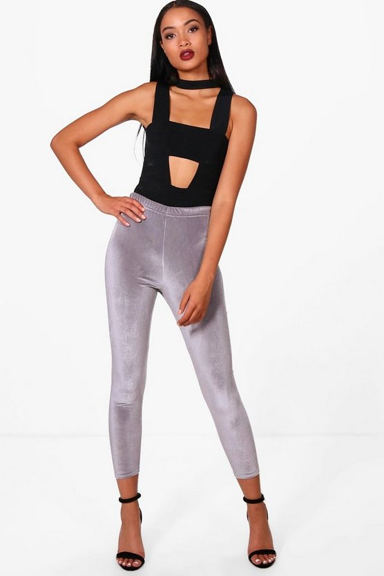 Anna Cropped Velvet Basic Leggings