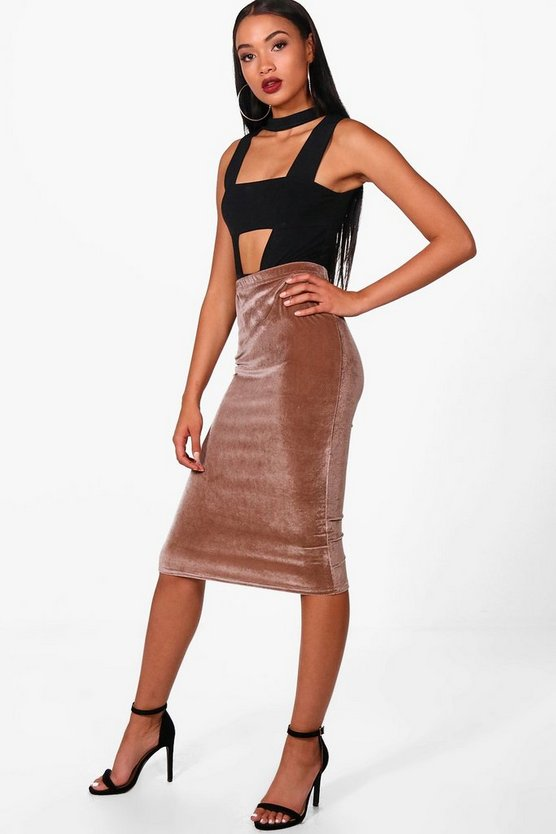 Amy Velvet Bodycon Midi Skirt