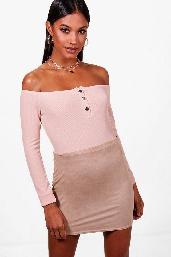 Beth Basic Rib Button High Rise Bodysuit