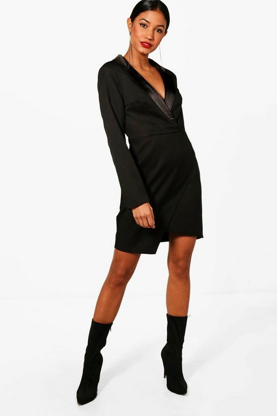 Isabelle Wrap Over Tuxedo Dress