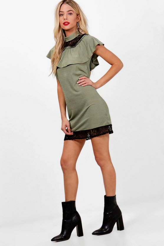Ribbed Lace Trim Oversized Shift Dress