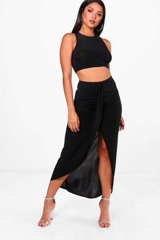 Lea Slinky Crop & Ruched Maxi Co-ord Set