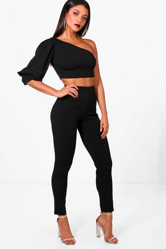 Pia One Shoulder Crop & Skinny Trouser Set
