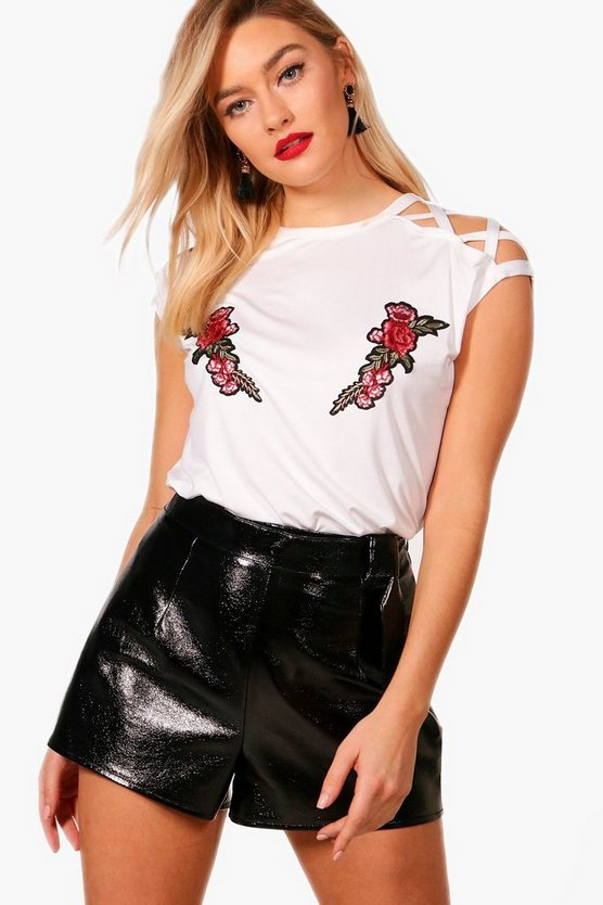Carly Embroidered Strappy Shoulder Detail T-Shirt