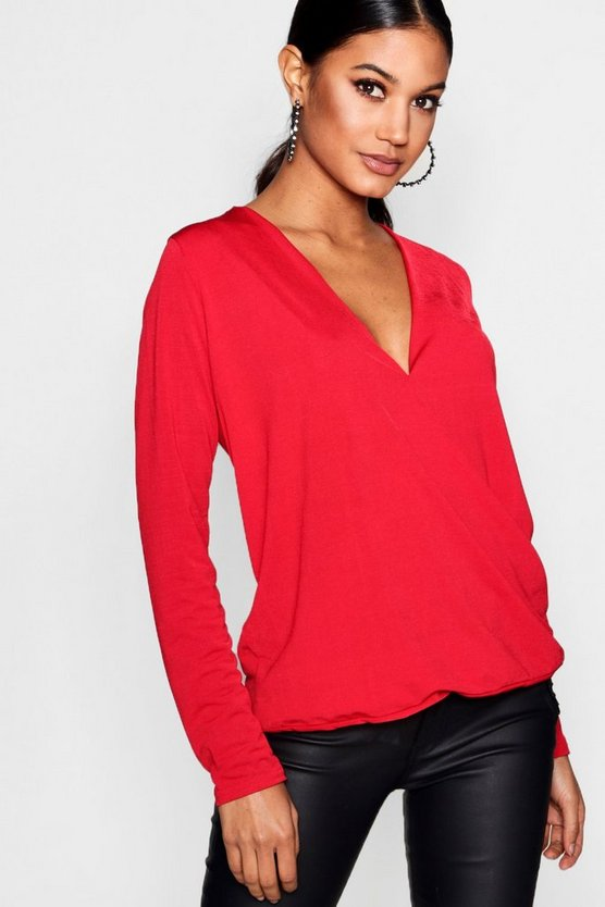 Olivia Silky Wrap Front Top