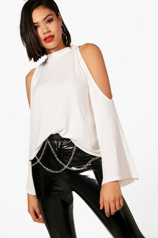 Madison High Neck Cold Shoulder Top