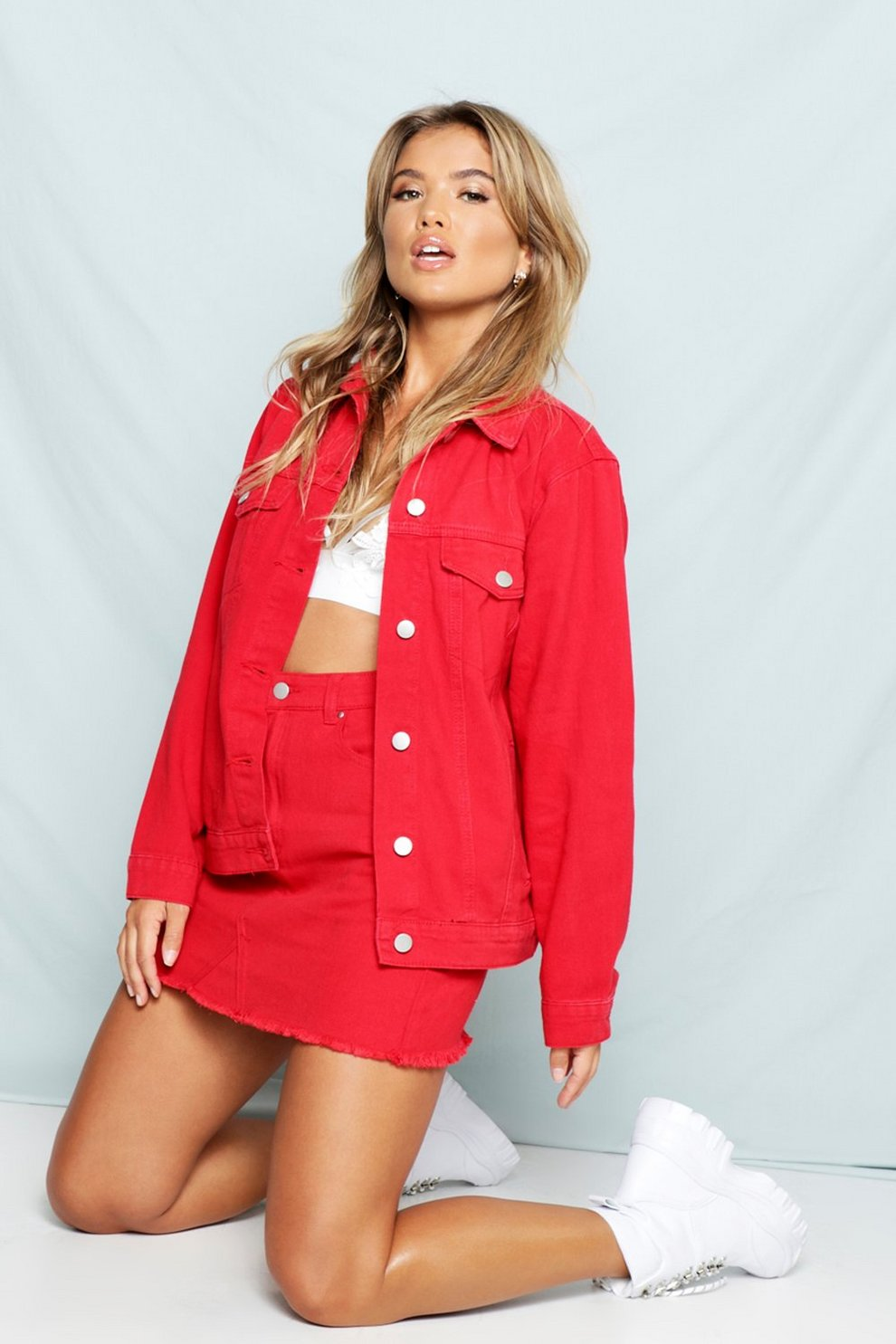 Willa Red Oversized Denim Jacket | Boohoo
