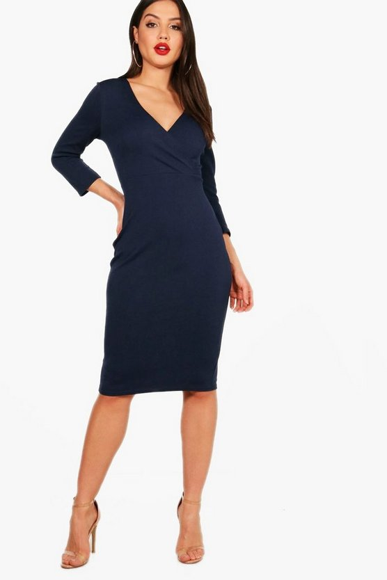 Wrap Over Midi Dress