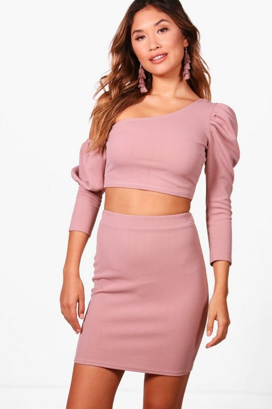 Nina One Shoulder Crop and Skirt Set