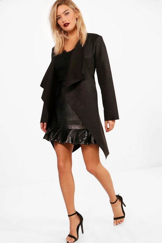Belted Suedette Duster