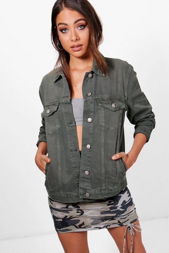 Kayleigh Khaki Distressed Denim Boyfriend Jacket