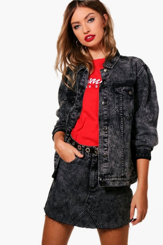 Daniela Black Acid Wash Oversized Denim Jacket