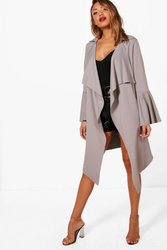 Annie Flute Sleeve Belted Duster