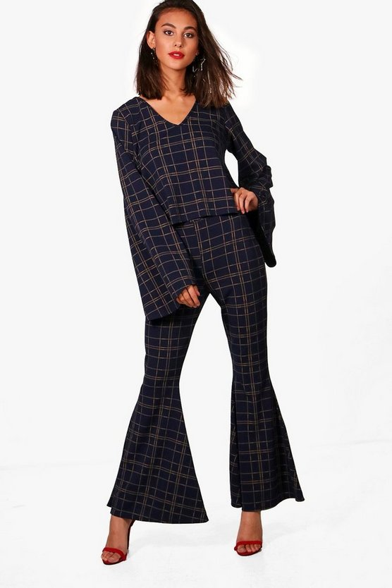 Alice Check Flare Trouser