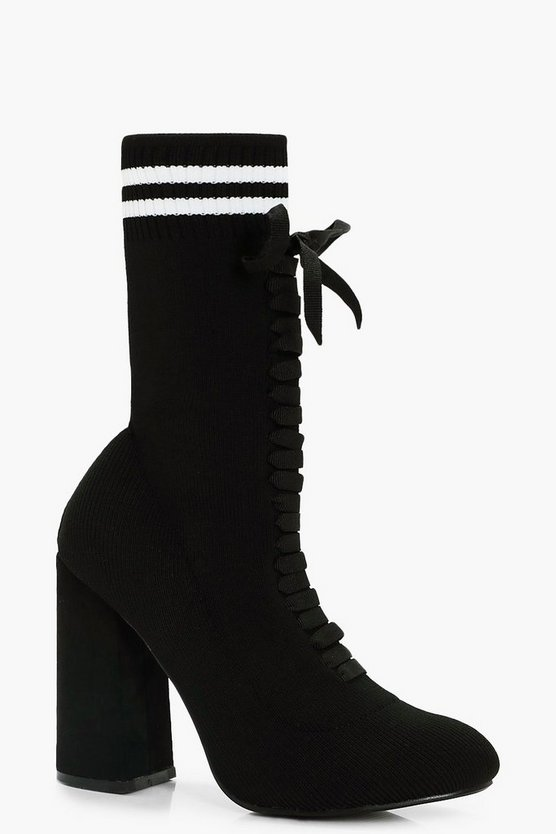 Jessica Knitted Sports Rib Sock Boots