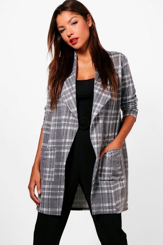 Emily Check Waterfall Blazer