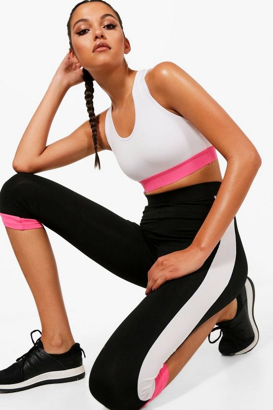 Fit Contrast Panel Capri Running Legging