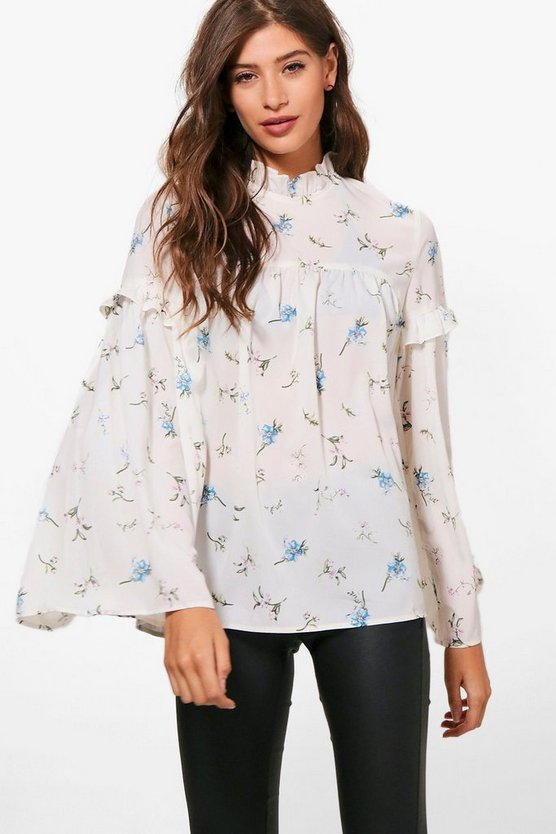 Bethany Floral Woven Ruffle Blouse
