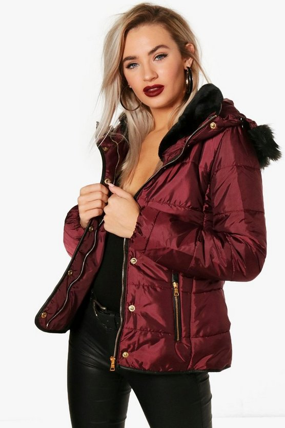 Christie Quilted Faux Fur Trim Jacket