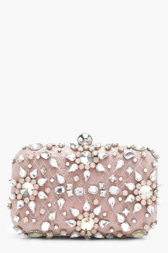 Ava Premium Embellished Diamante Box Clutch Bag