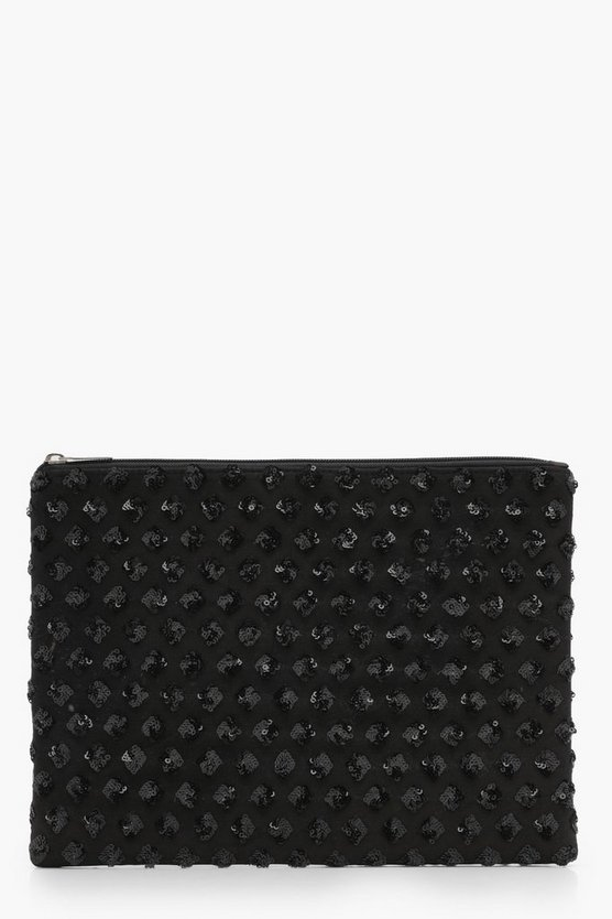 Diamond Pattern Sequin Clutch Bag
