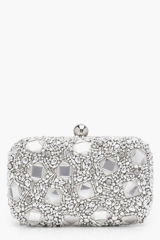 Alice Premium Gem Mirrored Box Clutch Bag