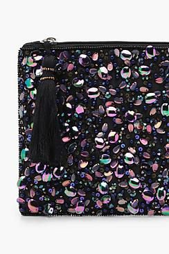 Holographic Sequin Zip Top Clutch