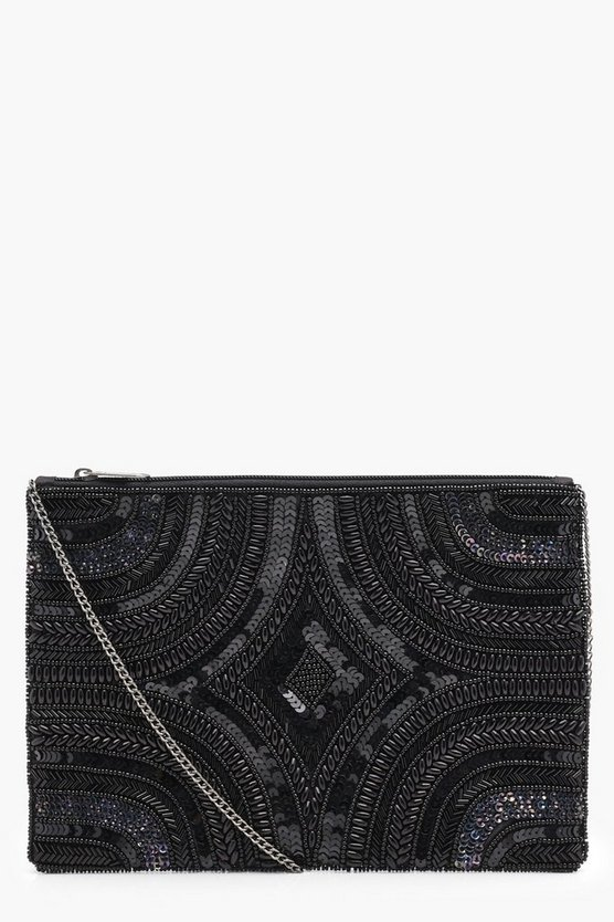 Martha Deco Beaded Zip Up Clutch