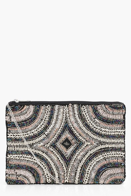 Alice Rose and Rainbow Sequin Deco Clutch