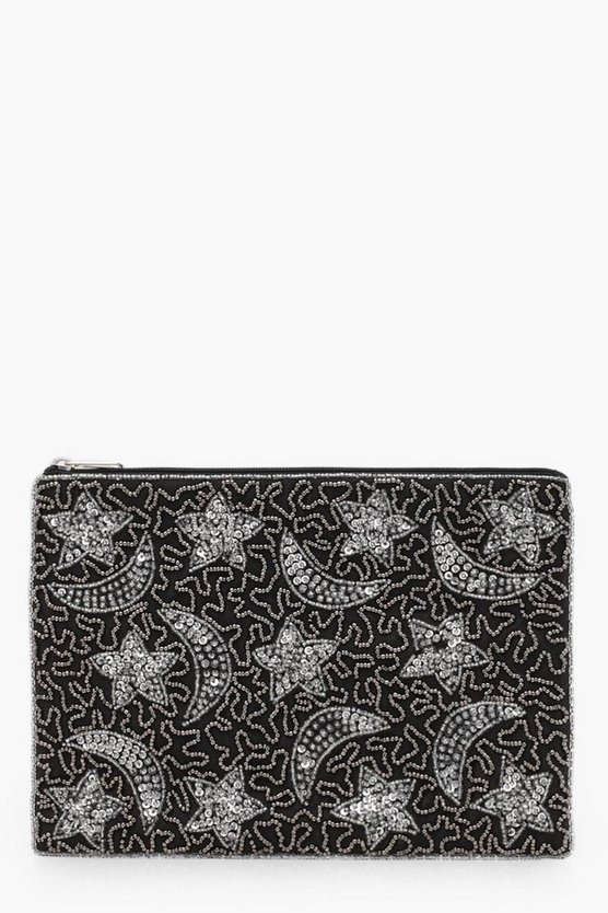 Moon And Stars Embellished Clutch Bag