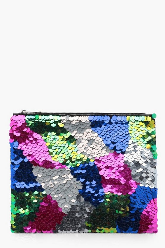 Oversized Sequin Ziptop Clutch Bag
