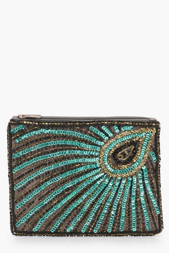 Mia Peacock Sequin And Bead Clutch